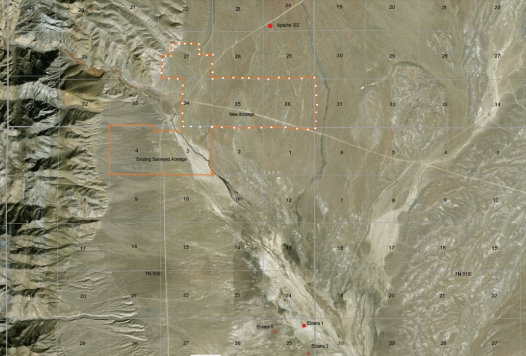 Aerial view of leases in Hot Creek Valley
